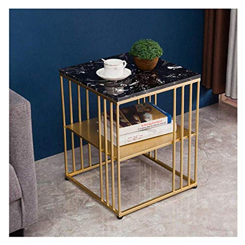 NBVCX Furniture Decoration Marble Square Modern Coffee Table Living Room 2 Floors Bedside Table Bedroom Side End Tables Storage Nightstand with Metal Frame White Double