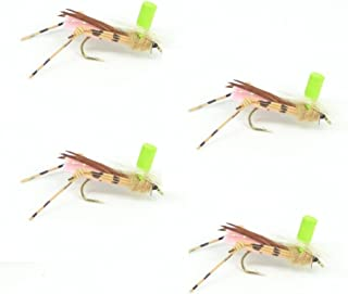 Button Top Hopper Dry Fly Fishing Fly Foam Body High Visibility Grasshopper - 4 Flies - Hook Size 10 - Hopper Dropper Indicator Fly