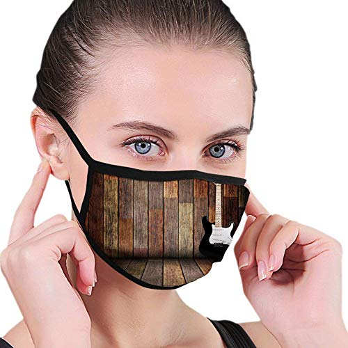 Comfortable Windproof mask,Popstar Party, Electric Guitar in The Wooden Room Country House Interior Music Theme,White Yellow,Dust-Proof Face Cover Balaclava Mouth Cover with Filte