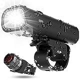 Updated Version Bike Light Set, TEMINICE USB Rechargeable Waterproof Runtime 8+ Hours 400 Lumen Super Bright...