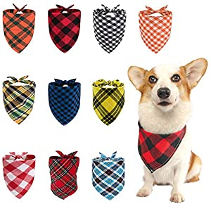 Dog Bandana, Bibs Scarf for Pet, Adjustable Washable Triangle Scarf Accessories for Small Medium Large Sized Dogs Puppies Cats Pets, 10 Pack Girl Boy Dog Gift Cotton Plaid Printing Dog Bandanas Set