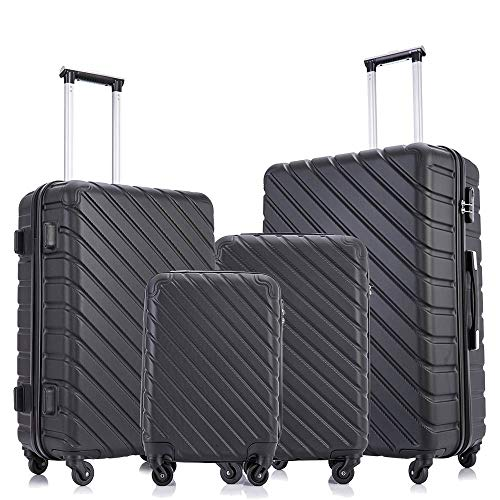 Fridtrip 4 Pieces Travel Suitcase Sets Hardshell Lightweight Luggage with Spinner Wheels Luggage Sets (4 PCS Suitcases, Black)