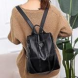 El Nuevo Huafeng multifunción Antirrobo Impermeable de la Manera Ocasional Las señoras de Cuero de la PU del Bolso de Crossbody Backpackage (Negro) (Color : Black)