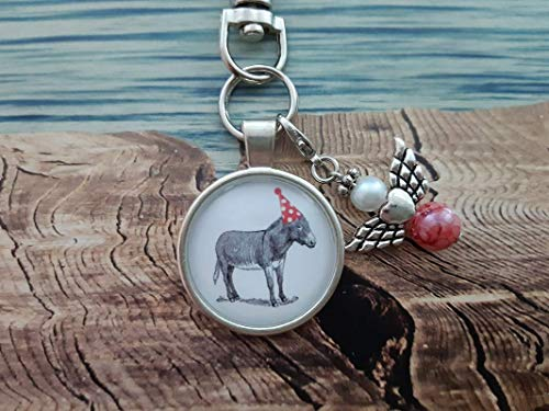 Handmade Schlüsselanhänger, Taschenanhänger Esel Rot/Weiß/Schwarz, mit Schutzengel