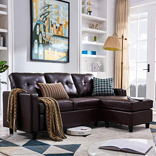 HONBAY Convertible Sectional Sofa Couch, L Shaped Sofa Couch with Faux Leather Sectional for Small Apartment Brown
