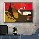 LGYJAL Joan Miro Pinturas Famosas Carteles Abstractos e Impresiones Pintura en Lienzo Cuadros en la Pared Decoración Abstracta Decorativa para el hogar 50x70 cm U-1347