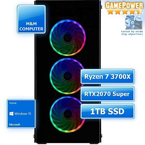 M&M Computer Dresden Gamer PC Ryzen, AMD Ryzen 7 3700X CPU, RTX 2070 Super 8GB, 1TB SSD Festplatte, 16GB RAM 2666MHz, Set mit MS-Windows 10, PC-Kauf-Empfehlung