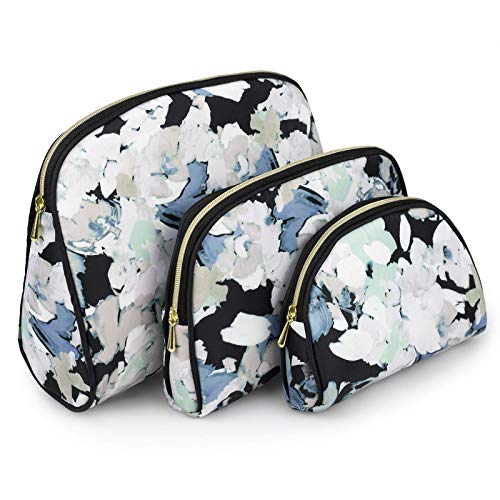 Once Upon A Rose 3 Pc Cosmetic Bag Set, Purse Size Makeup Bag for Women, Toiletry Travel Bag, Makeup Organizer, Cosmetic Bag for Girls Zippered Pouch Set, Large, Medium, Small (White Floral Design)