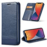 BLU G90 Wallet Case with Tempered Glass Screen Protector, [Kickstand] [Card Slot+Side Pocket] Premium Soft PU Color Matching Leather Wallet Cover Flip Folio Case Protective Case for BLU G90 (Blue)