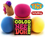 Nee-Doh Schylling Color Change Groovy Glob! Squishy, Squeezy, Stretchy Stress Balls Blue, Yellow & Pink Complete Gift Set Party Bundle - 3 Pack