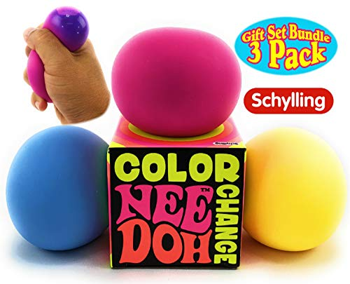 Nee-Doh Schylling Color Change Groovy Glob! Squishy Squeezy Stretchy Stress Balls Blue Yellow & Pink Complete Gift Set Party Bundle - 3 Pack