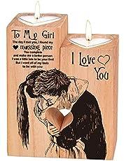 Hjärtformad ljusstake jul-alla hjärtans dag födelsedag årsdag träljushållare – hjärtformad ljushållare to my bestie ljusstake med ljus present till bästa vännen