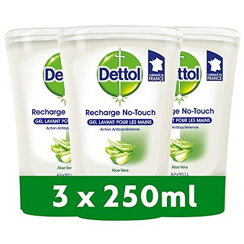 DETTOL Recharge No-Touch Savon Liquide Mains 250 ml - Action Nettoyante - Aloe Vera (3 Recharges)