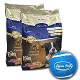 Lyra Pet® 8 kg + 400 g gratis High Premium Hundefutter Dog Soft Strauß & Kartoffel Trockenfutter hypoallergen getreidefrei glutenfrei Zahnpflege Hunde Hund Futter + Tennis Ball