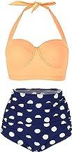FeelinGirl Bikini para Mujer Lunares Estampados Push Up Vintage Talle Alto Conjunto de Bañodor 2 Piezas
