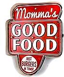 DiiliHiiri Cartel Retro Luminoso Cerveza Bar Restaurante Cafeteria Estilo Vintage Letrero Metálico de Artesanía Accesorios de Decoración Hogar de los Años 50 (Momma's Good Food)