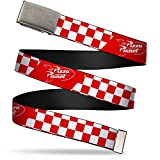 Belt Plain Clamp Buckle Toy Story Pizza Planet Logo Checker Red White 1.25 Inch Wide Fits up to Size 42