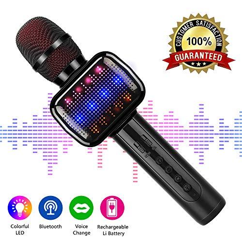 Micrófono Inalámbrico, Portátil Micrófono Karaoke Bluetooth con Altavoz, Compatible con iPad, Smartphone PC AUX, Batería Larga Duración (Negro)