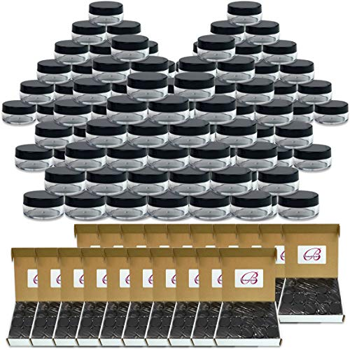 (Quantity: 1000 Pieces) Beauticom 10G/10ML Round Clear Jars with Black Lids for Cosmetics, Medication, Lab and Field Research Samples, Beauty and Health Aids - BPA Free