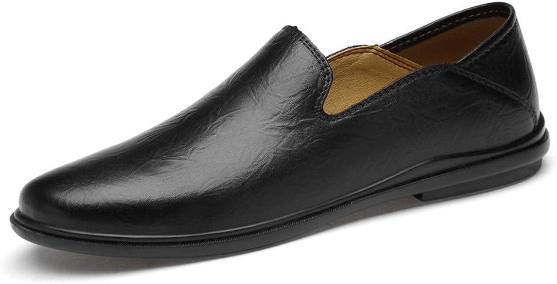 SGTGB Kaixinuo Laufschuhe für Herren, legere Schuhe, echtes Leder, Leder, Leder, vegan, klassisches Business Dating, Wandern, leicht, dünn, rutschfest, Schwarz - Schwarz - Größe  39 EU cc3