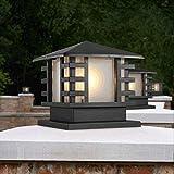 Traditional American Country Outdoor Square Pillar Lanterns - Rural Landscape Column Light - External Rainproof Aluminum Post Lights for Gate Villa Pool Terrace Fence Street Lighting Decorative