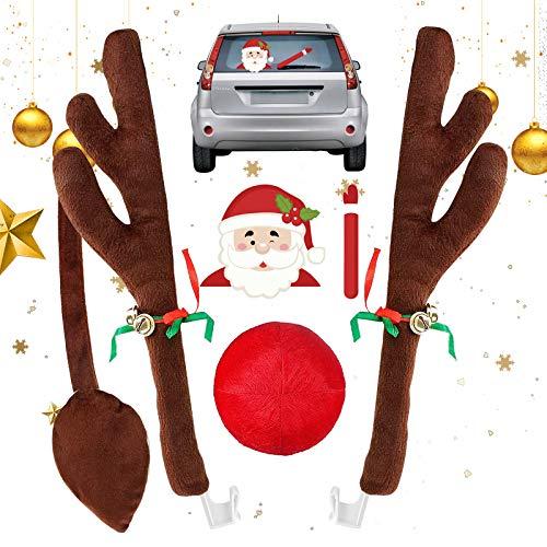 Hook Weihnachtsdeko Auto Rentier, Rentiergeweih Auto Deko Weihnachten Kostüm Set Dekoration Rote Nase,1Pcs Auto Heckscheibenwischer Aufkleber für alle Fahrzeuge