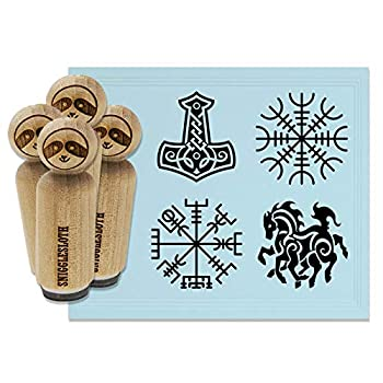 Norse Viking Symbols Protection Awe Mjolnir Hammer Horse Rubber Stamp Set for Stamping Crafting Planners - 1-1/4 Inch Large