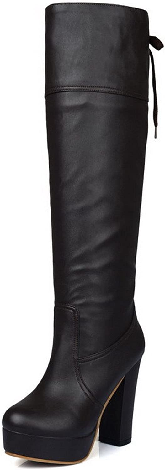WeiPoot Women's High-Heels Round Closed Toe Soft Material Knee-high Boots, Brown, 36