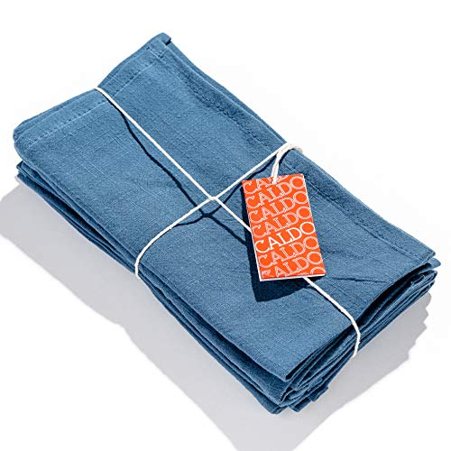 Caldo Linen Dinner Napkins - Rustic- Soft and Durable Cloth - Washable and Reusable- 4 Pack - 20x20 inch (Vintage Blue)