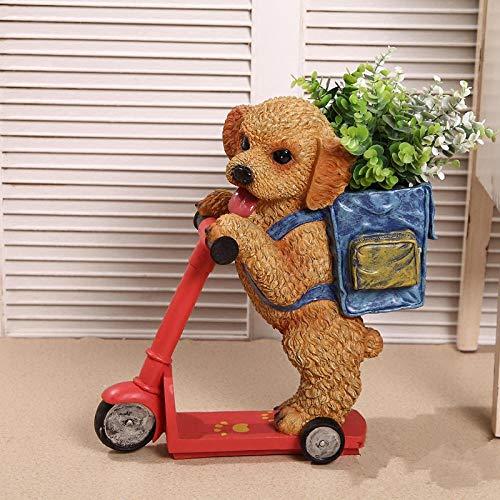 COCECOCE Gartenfiguren Skulpturen Statuen Dekoartikel Skulptur Harz Roller Hund Tray Schlüsselwechsel Halter Ocarina Dekoration Handwerk Künstliche Hund Blumenschmuck