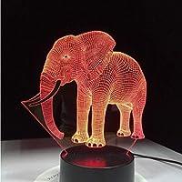 かわいい象の3DイリュージョンLEDテーブルランプナイトライト、動物の象の形のタッチ7色の変更効果キッズホビーランプ