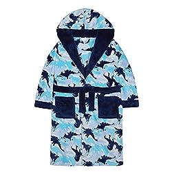 5. 4Kidz Boys Dinosaur Camo Soft Fleece Hooded Bathrobe