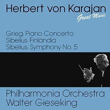 Grieg : Piano Concerto -  Sibelius : Finlandia & Symphony No. 5