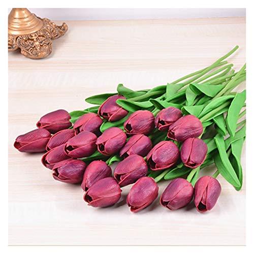DXM Hohe Nachahmung PU-Blume, Mini Tulpe High-End-Nachahmung Blume, Bunte Seidenblume künstliche Blume für Hochzeit Dekoration Künstliche Blume (rot) (Color : Wine Red)