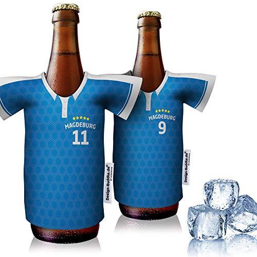 vereins-Trikot-kühler Home für FC Magdeburg Fans   2er Fan-Edition  2X Trikots   Fußball Fanartikel Jersey Bierkühler by Ligakakao