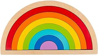 NUOBESTY 1 Set Children Wooden Rainbow Stacker Toy Rainbow Nesting Blocks Puzzle Toy Preschool Montessori Educational Toy ...