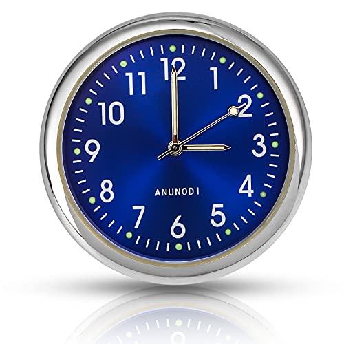 EEEKit Aufklebbare Auto Armaturenbrett Uhr Runde Analoge Quarzuhr, Mini Nachtleuchtende Quarzuhr mit Fluoreszierenden Zeiger für Auto, SUV und MPV Innendekoration (Blau