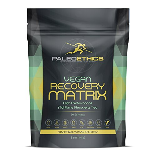PALEOETHICS PE Sport Vegan Recovery Matrix High Performance Nighttime Recovery Tea Powder, Natural Peppermint Chai Flavor, 5 Ounce (30 Servings)