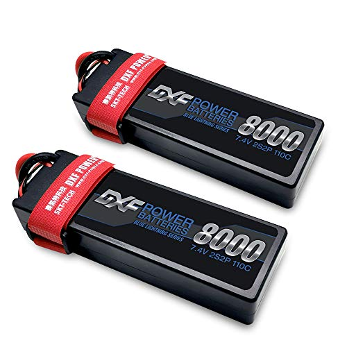 DXF 2PCS 8000mAh 7.4V 110C 2S LiPo RC Battery Pack with Hard Case Deans Plug for RC Evader Bx Car Truck Truggy Buggy Tank Helicopter Airplane Car Racing