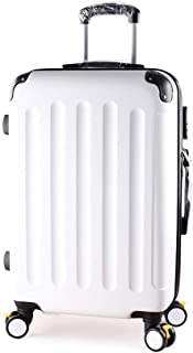 TYUIO Hard Case 22 inch Rolling Suitcase With Spinner Wheels (Color : White)