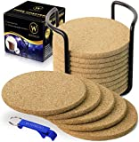 WIDROO 16 Pack Absorbent Cork Coasters Round Edge with...