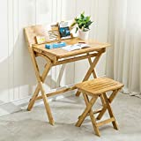 ZXL Folding Computer Writing Desk Children's Study Table Solid Wood Primary School Students Writing Desk Homework Desk Kids Desk and Chair Set,Bamboo (Size : Desk+Chair)