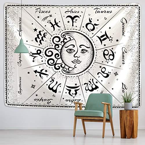JEIBGW tapizTarjeta de Tarot, Tapiz de Gato Negro, Colgante de Pared a Mano, Hippie, Luna, Lobo,...
