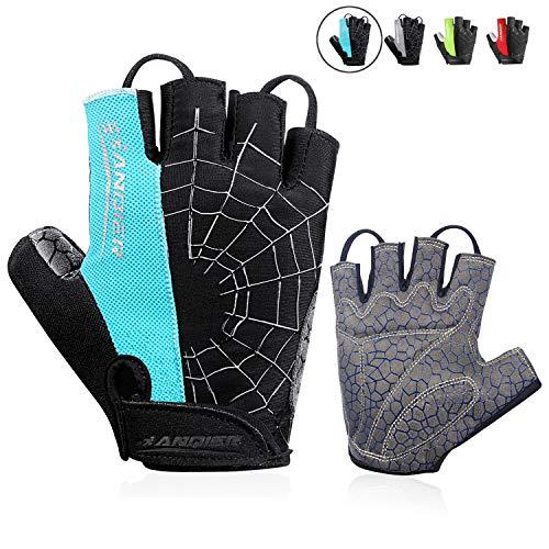 Cycling Bike Gloves Padded Half Finger Bicycle Gloves Shock-Absorbing Anti-Slip Breathable MTB Road Biking Gloves for Men//Women