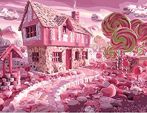 N/ A DIY digitale schilderij, roze romantische snoep handgeschilderde kunst muurschildering, uniek cadeau voor kinderen en volwassenen bruiloft decoratie
