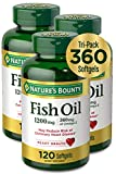 Nature's Bounty Fish Oil, 1200mg, 360mg of Omega-3, 120 (3-Pack, 360 Total) Softgels