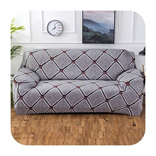 Hylshan Geometría elástica Spandex Funda de sofá para sofá ajustado Todo Incluido Fundas de sofá para sala de estar seccional sofá cubierta Asiento-007-4 plazas 235-300cm