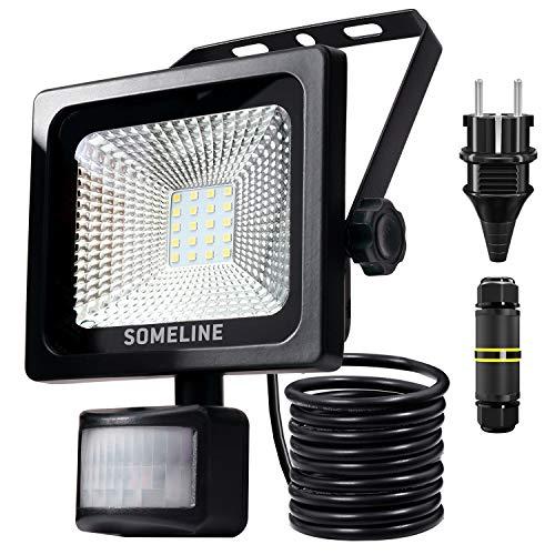 20W LED Strahler mit Bewegungsmelder Wasserdicht IP66 Außenstrahler mit Stecker und Anschlussdose Außen Fluter SOMELINE Flutlicht mit PIR