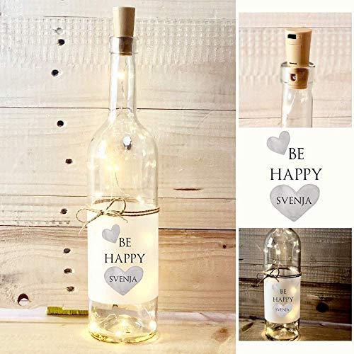 Be Happy - Dekoflasche mit Beleuchtung und Namen, besonderes Geschenk zum Geburtstag, Muttertag und vielen Anlässen