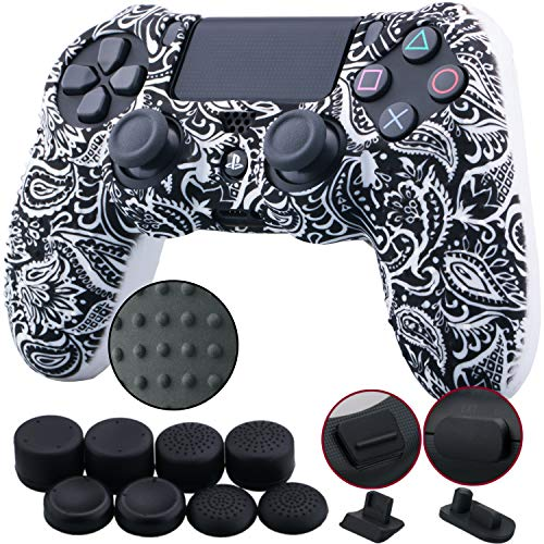 9CDeer 1 Piece of Silicone Studded Water Transfer Protective Sleeve Case Cover Skin + 8 Thumb Grips Analog Caps + 2 dust Proof Plugs for PS4/Slim/Pro Dualshock 4 Controller, Leaves Black